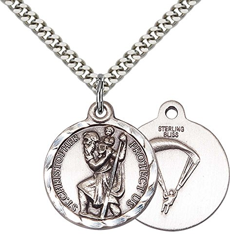 Sterling Silver St. Christopher / Paratrooper Pend with 24