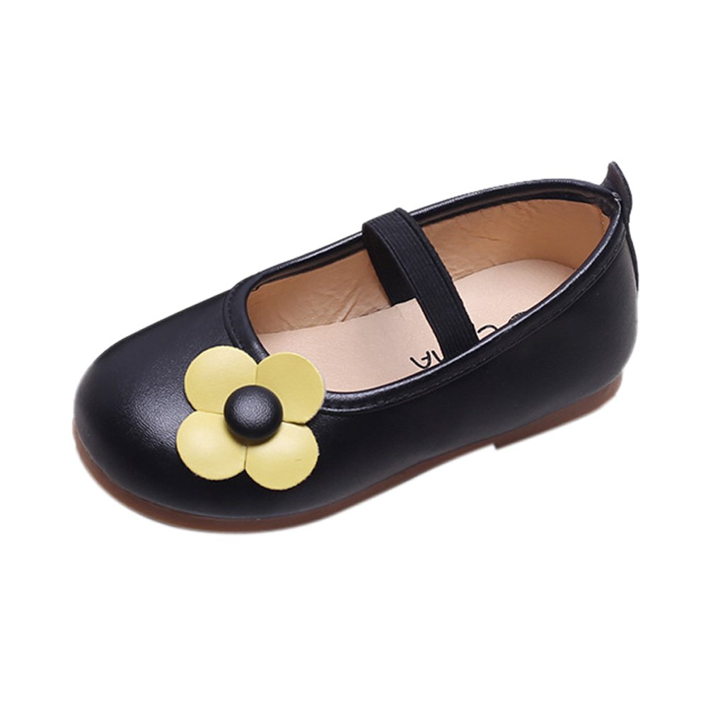 LINGGO Girls Little Flower Slip-On Leather Princess Shoes(Toddler/Little Kid)
