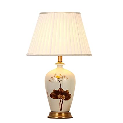 Creative Vintage Ceramic Table Lamp Copper Base And White Fabric