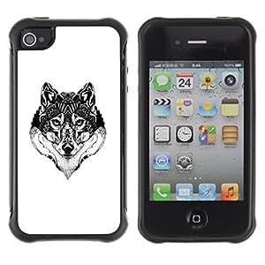Suave TPU GEL Carcasa Funda Silicona Blando Estuche Caso de protección (para) Apple Iphone 4 / 4S / CECELL Phone case / / Wolf Black White Drawing Art Eyes /