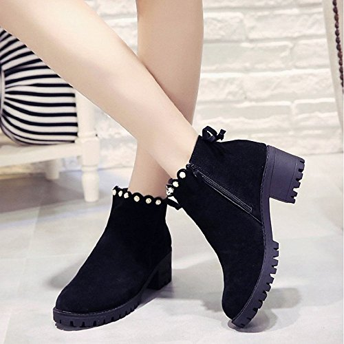 Boots leather Block Black PU Booties Heel Boots for Winter Ankle Fall Women's Round Casual Boots HSXZ Toe Nubuck ZHZNVX Shoes Null Comfort Fashion Black ICPwOP