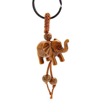 Llavero de madera tallado por elefante de la suerte con ...