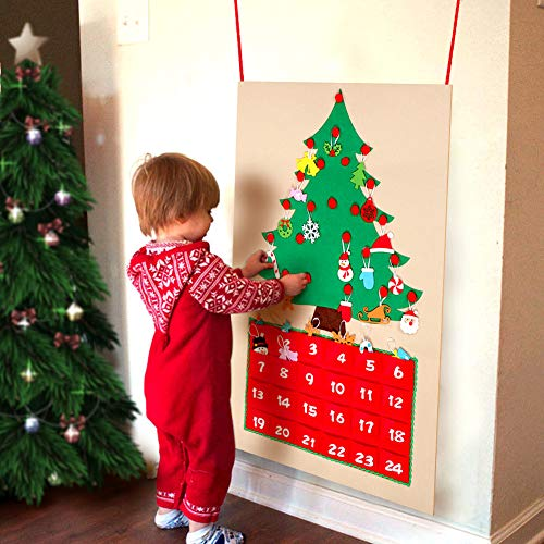 OurWarm Felt Christmas Tree Advent Calendar with Pockets and Christmas Ornaments 24 x 35 Inch Countdown to Christmas Wall Hanging Calendar Xmas Gift for Christmas Decorations