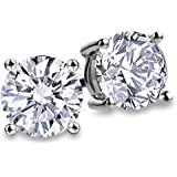 Fashion S925 Sterling Silver Cubic Zirconia Stud Earrings for Women Men Nickel Free Earrings 4 Prong Sparkling Round Pure Brilliance CZ Stud Earrings (Round Cubic Zirconia 6.5mm)