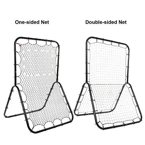 Baseball Rebounder Pitch-back Net for Sports Training with Adjustable Target & Double 20 square feet Multi-Sport Net by Evokem