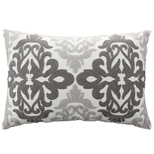 PONY DANCE Decorative Throw Pillow Cover for Couch Rectangular Cotton Pillowcase Vintage Accent Embroidered Damask Cushion Cover Including Hidden Zipper Design,12 by 20 Inches,Gray Floral,1 Pack - Damask Accent Pillow