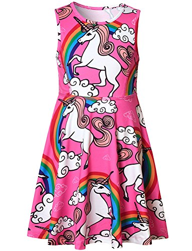 Flowy Pink Unicorn Summer Dress for Little Girls -