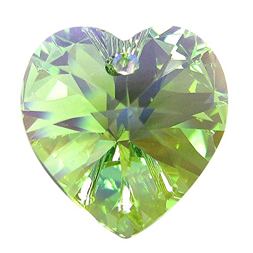 1 pc Swarovski Xilion Crystal 6228 Heart Charm Pendant Peridot AB 18mm / Findings / Crystallized Element (Charm 1 18mm)