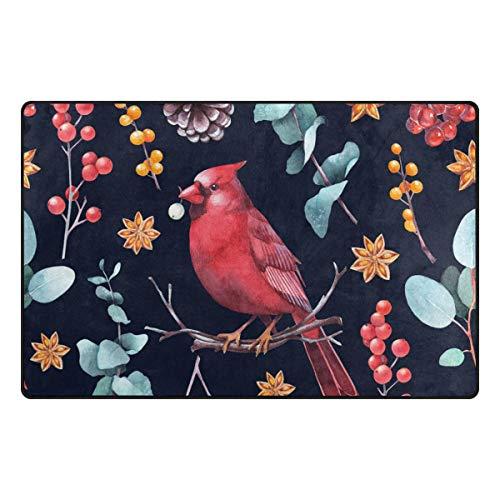 My Little Nest Christmas Cardinal Bird Berries Lightweight Doormat 31