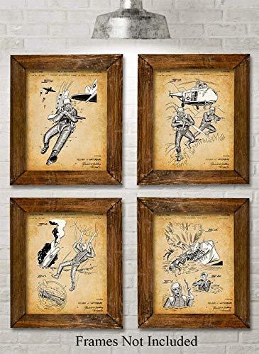 Original Combat Uniform Patent Art Prints - Set of Four Photos (8x10) Unframed - Makes a Great Gift Under $20 for Military Veterans (Us Marines Combat Uniform)