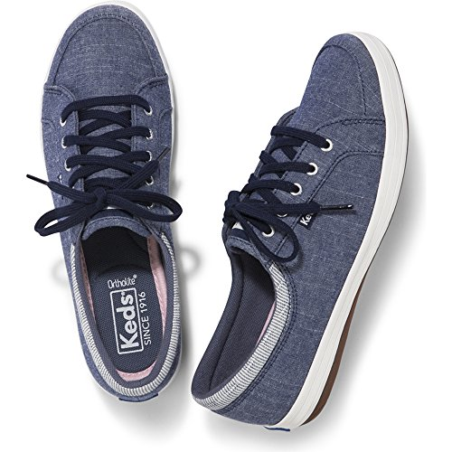 Keds Women's Vollie Ll Chambray Sneaker, Navy, 8.5 M US