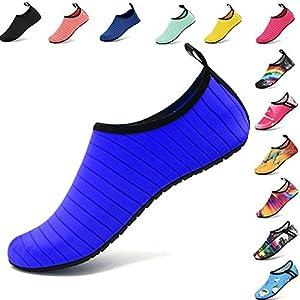 VIFUUR Water Sports Shoes Barefoot Quick-Dry Aqua Yoga Socks Slip-On For Men Women Kids Blue-38/39