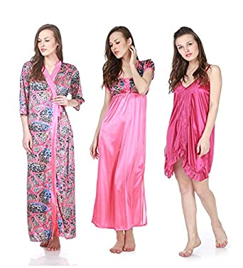 b2758cf2e5 Claura 3 pc stylish combo of Printed Long Nighty with robe and shorts nighty   Amazon.in  Clothing   Accessories