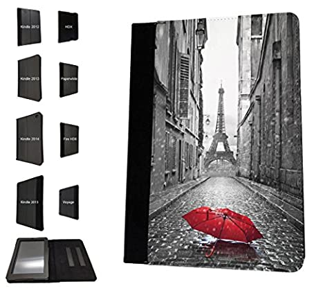 002983 - Vintage Red Umbrella Paris France Eiffel Tower Design Amazon Kindle Fire 10'' 5TH Generation (2015 Release Only) Flip Case Purse pouch Stand (Kindle Case Designer)