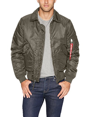 Alpha Industries Men's CWU 45/P Slim Fit Flight Jacket, Replica Grey, 2XL ()