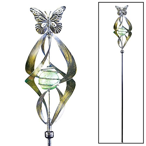 Bronze Butterfly Wind Spinner Green