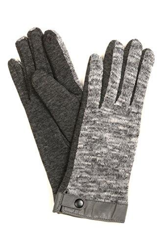 Sakkas CMZ1525 - Lilith Heather Knit Wrist Length Touch Screen Wrist Snap Winter Gloves - Charcoal - L