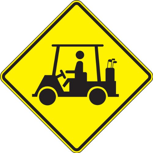 "Accuform FRW731RA Engineer-Grade Reflective Aluminum Traffic Crossing Sign (MUTCD W11-11),""Golf CART Crossing"", 24"" Length x 24"" Width x 0.080"" Thickness, Black on Yellow"