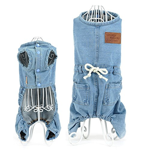 Dog Puppy Denim Coat Jacket Overalls Jean Pant Cute Small Dog Pet Cat Jumpsuit Romper Clothing For Pet Dog Chihuahua Clothes Hoodie (S, Blue)