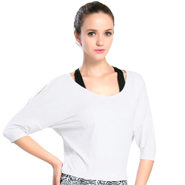ef416e9668 Top1  BothMeetYuan Womens Shoulder Blouse Batwing Sleeve Loose Casual Tunic  T-Shirt Active Tops