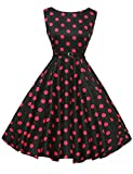 1950's Style Retro Dresses Boat Neck Sleeveless Size L F-9,Floral-9