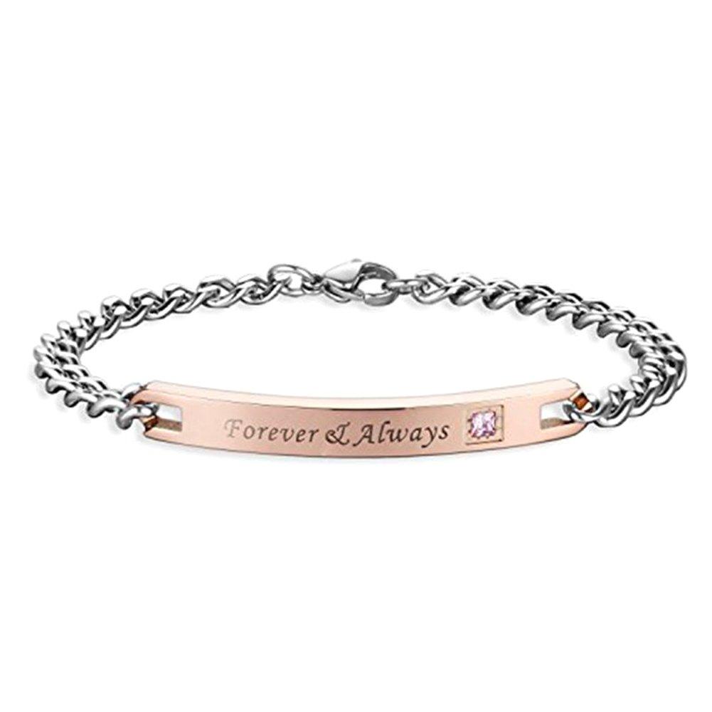 Forever & Always Stainless Steel Bracelet for Women - Cuff Wrist Bracelet - Anniversary Gift for Lovers