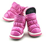 Puppy Dog Shoes Patent Leather Thickening Winter Small Dog Boots, Pink, XS