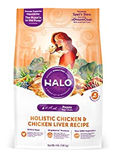 Halo Holistic Dry Dog Food for Puppies, Chicken and Chicken Liver Recipe, 4 LB Bag of Natural Puppy Food