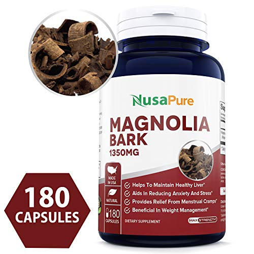 Magnolia Bark 1350 mg (Non-GMO & Gluten Free) Reduces Anxiety, Helps Reduce Inflammation - Made in USA - 100% Money Back - Bark Magnolia Extract