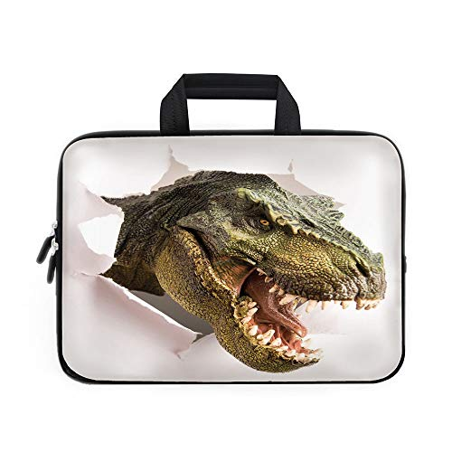 Dinosaur Laptop Carrying Bag Sleeve,Neoprene Sleeve Case/Dangerous Dinosaur Tears Up the Paper Wall Image Scary Break Scenery/for Apple Macbook Air Samsung Google Acer HP DELL Lenovo AsusGreen Army Gr
