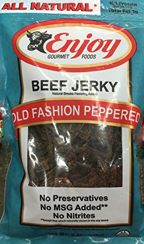 8oz Enjoy Beef Jerky Old Fashioned Peppered, All Natural (Pack of 1) (Jerky Peppered Soy)
