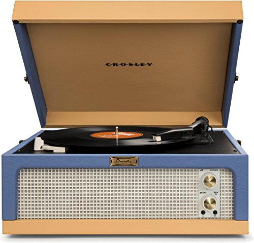 Crosley CR6234A-BT Dansette Junior Portable Turntable with Aux-In, Blue/Tan (Players Crosley Record)