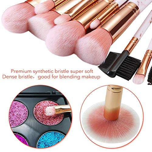 Makeup Brushes ALLFY 16 Pcs Premium Synthetic Foundation Eyeshadow Face Brushes Set for Powder Cream Liquid with Silicone Facial Mask Brush Eyebrow Razor PU Cosmetic Bag Pink