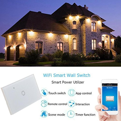 Switch Capacitive Hand Switch Wireless Remote Control Glass 1-gang Smart Home AU/US Crystal Waterproof Glass Touch Screen Light Switch&Mini Remote Wifi phone control (White) by Liu Nian (Image #5)