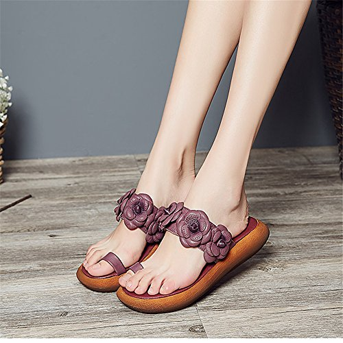 LIVY flores dulces de mano conjuntos toe sandalias y zapatillas de cuero de verano sandalias de suela impermeable amplia Púrpura