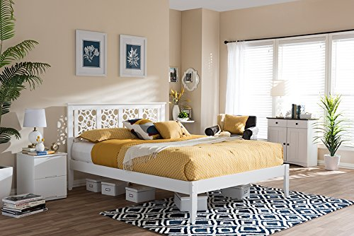 (Baxton Studio Celine Platform Bed in White Finish (Full: 56.02 in. L x 56.16 in. W x 40.95 in. H))