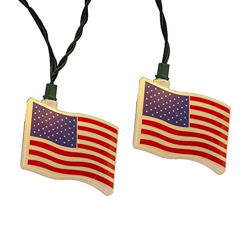 Kurt Adler UL 10-Light USA Flag Light Set (Lights Flag Usa)