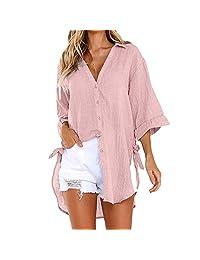 Womens Loose Button Long Cotton Shirt for Work Juniors Casual Tops T-Shirt Blouse