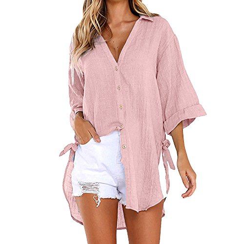 COPPEN Women Blouse Loose Button Long Shirt Dress Cotton Summer Tops T-Shirt Pink - Draped Essential Top