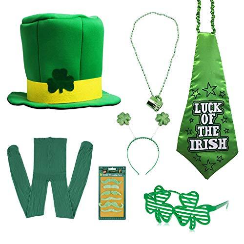 Fashionclubs St Patrick's Day Accessory Set 7pcs St Patricks Day Leprechaun Costume Accessories Set, Shamrock Top Hat, Bopper Headband,Shutter Glasses,Beads Necklace,Mustaches,Necktie&Tights Green