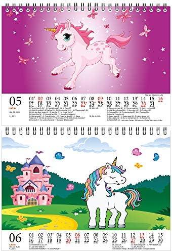 Einhornzauber DIN A5 Tischkalender für 2021 Einhorn Einhörner Unicorn - Geschenkset Inhalt: 1x Kalender, 1x Weihnachts- und 1x Grußkarte (insgesamt 3 Teile)