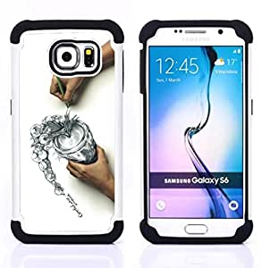 BullDog Case - FOR/Samsung Galaxy S6 G9200 / - / cool draw sketch careful think spill /- H??brido Heavy Duty caja del tel??fono protector din??mico - silicona suave