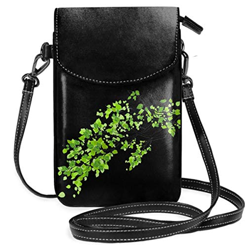 Small Cell Phone Purse For Women Leather Green Tree Leaf Insides Card Slots Crossbody Bags Wallet Shoulder Bag ()