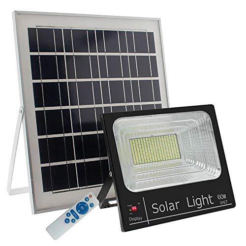 Foco Proyector LED SOLAR exterior DIGIT 60W, Blanco frío, Regulable con Mando a Distancia. Sensor de luminosidad, con menos de 50Lux se enciende ...