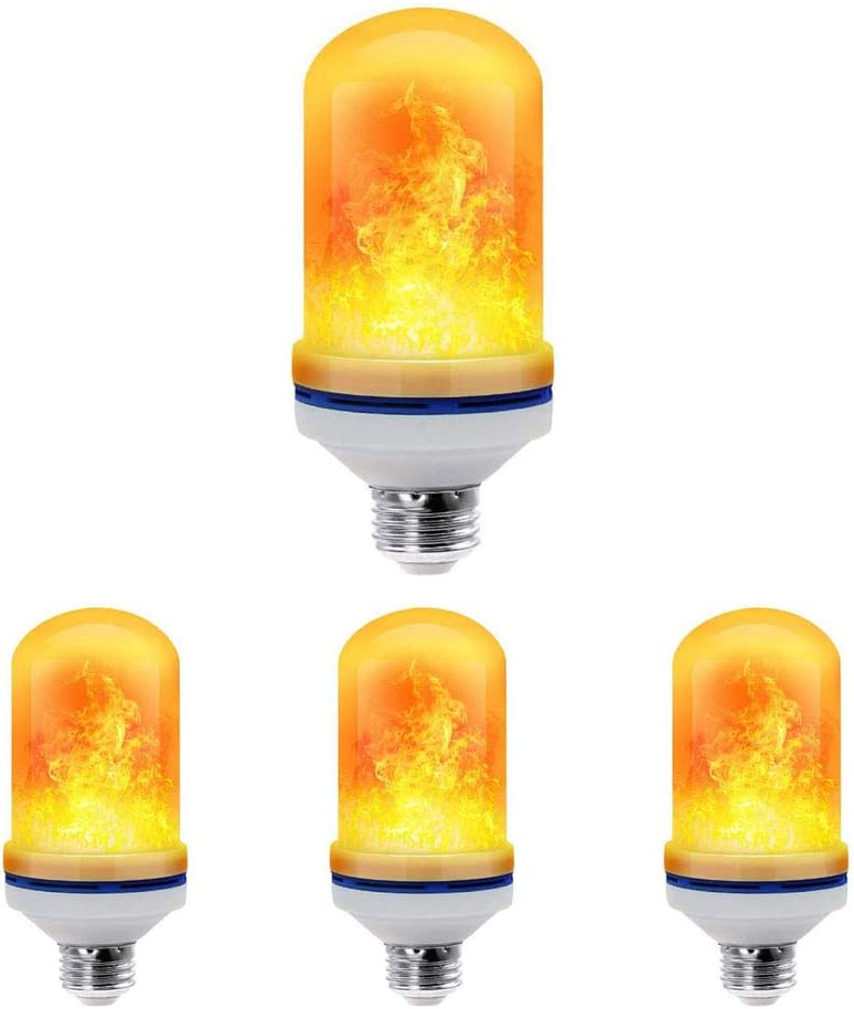 Christmas Lights Flame Fire Flickering Smart Bulbs for Halloween Decorations Hotel 2 Pack E26 LED Bulbs LED Flame Effect Light Bulb 4 Modes with Upside Down Effect 2 Pack Bar Party Decoration