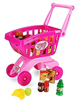 Holy Stone Upgraded Mini Shopping Cart Pretend Play Toy for Toddlers Color Pink