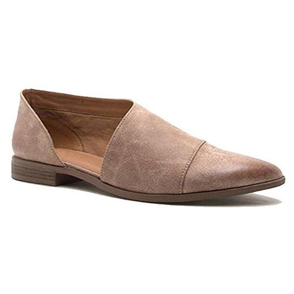Keephen Pantofole da Donna Casual con Punta a Punta Aperte Stivaletti Laterali Aperti Grigio-marrone