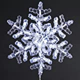 Kurt Adler UL 12-Inch 35-Light Clear Crystal Snowflake with Cool White LED Indoor/Outdoor Light Set