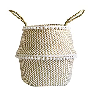 BOENZN Natural Seagrass Belly Basket with Handles, Large Storage Laundry, Picnic, Plant Pot Cover, and Woven Straw Beach Bag for Home Decor