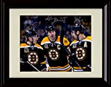 Framed Brad Marchand, Patrice Bergeron, Zdeno Chara Autograph Replica Print - Boston Bruins